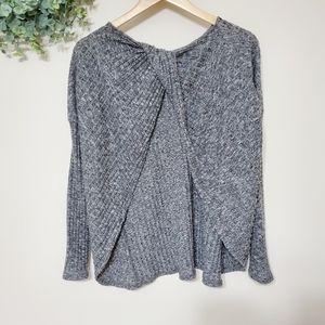 Fantastic Fawn Gray Open Back Knit Sweater Medium